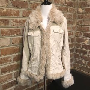 BB Dakota Corduroy Faux Fur Trim Cream Jacket